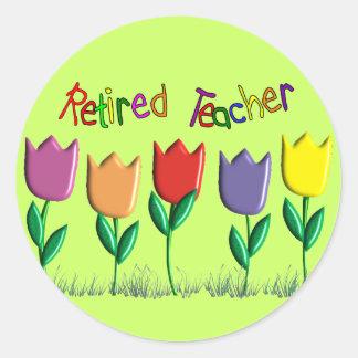 Retired Teacher Tulips Design Gifts Classic Round Sticker