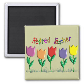 Retired Teacher Tulips Design Gifts Refrigerator Magnets