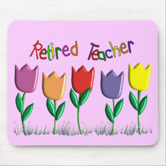 Retired Teacher Tulips Design Gifts Mouse Pad