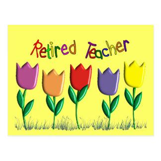 Retired Teacher Tulips Design Gifts Postcard