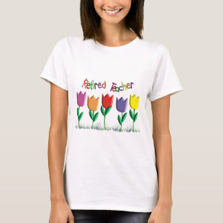 Retired Teacher Tulips Design Gifts T-Shirt