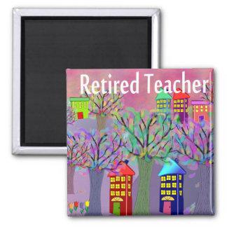 Retired Teacher VILLAGE SCENE Design Fridge Magnet