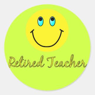 Retired Teacher YELLOW SMILEY Classic Round Sticker