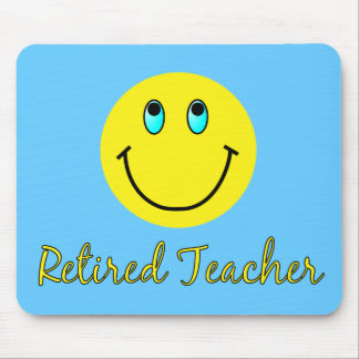 Retired Teacher YELLOW SMILEY Mouse Pad