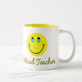 Retired Teacher YELLOW SMILEY Two-Tone Coffee Mug
