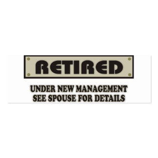 RETIRED. Under New Management. See Spouse Double-Sided Mini Business Cards (Pack Of 20)