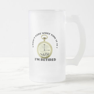 Retired watch 16 oz frosted glass beer mug