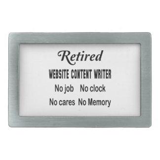 Retired Website content writer No job No clock No Rectangular Belt Buckle