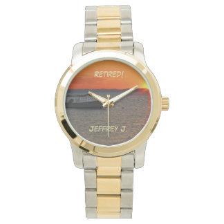 Retired! Wrist Watch Fishing Boat Gold-Silver Tone
