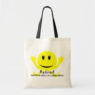 """""""Retired"""" YELLOW SMILEY HAPPY DANCE Canvas Bags"""