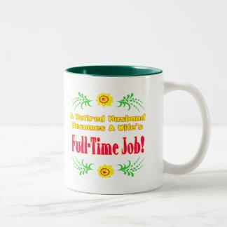 Retiree Is Wifes Job Two-Tone Coffee Mug