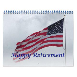 Retirement 2016 Calendar USA Flag Blue