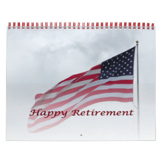 Retirement 2016 Calendar USA Flag Red