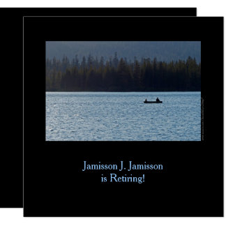 Retirement Announcement, Fisherman and Son on Lake Card