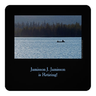Retirement Announcement, Fisherman and Son on Lake 5.25x5.25 Square Paper Invitation Card