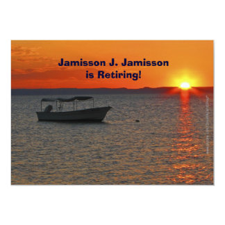 Retirement Announcement  Fishing Boat at Sunset