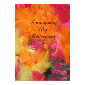 Retirement Announcement, Orange Pink Feathers Card