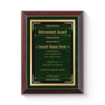 Retirement Award Plaque
