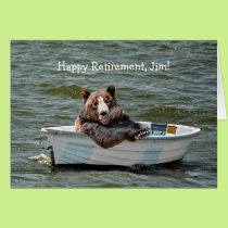 Retirement Bear in Boat Card