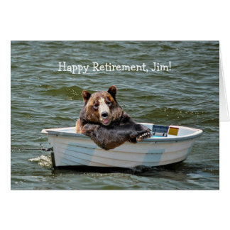 Retirement Bear in Boat Card