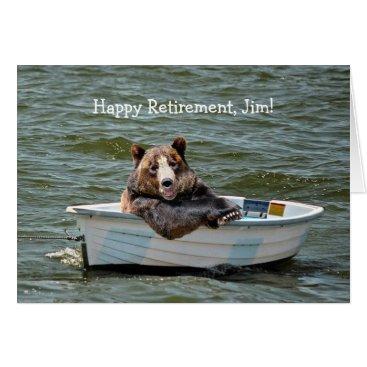 dryfhout Retirement Bear in Boat Card