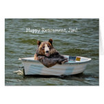 Retirement Bear in Boat Greeting Card