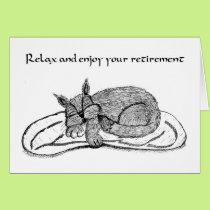 Retirement Card With Sleeping Cat