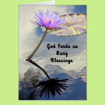 Retirement Card with Water Lily, Religious