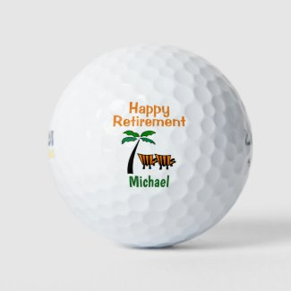 Retirement Congratulations Beach Custom Name Golf Balls