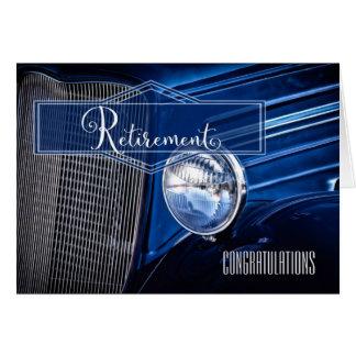 Retirement Congratulations - Blue Vintage Car Card