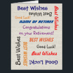 """Retirement Congratulations from All JUMBO Burlap Card<br><div class=""""desc"""">What a wonderful, fun happy retirement greeting card from a group. On the cover, your text repeats in different fonts and colors on a faux off-white burlap background. Also easy to modify inside text, if desired. Default size is JUMBO, to leave room for lots of co-workers to sign. It&#39;s easy...</div>"""