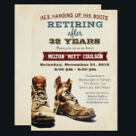 "Retirement Construction Military Invitation<br><div class=""desc"">He&#39;s hanging up his boots! Our invitatin is perfect for the man in your life who is familiar with construction,  the military or any other trade that requires wearing boots.</div>"
