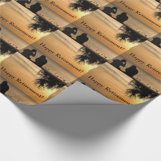 Retirement, couple in Florida sunset, gift wrap. Wrapping Paper