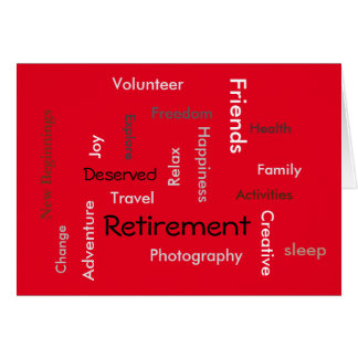 Retirement: customize words on card