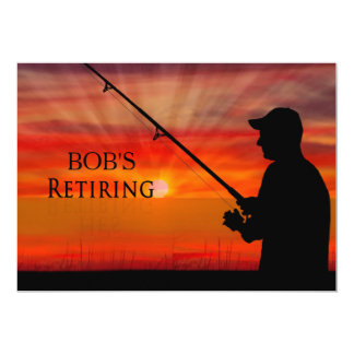 RETIREMENT DINNER INVITATION - FISHING SUNSET -