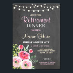 "Retirement Dinner Party Women&#39;s Floral Pink Invite<br><div class=""desc"">Chalkboard Floral Pink retirement party invite design. Perfect for any age. SIMPLY CHANGE THE TEXT TO SUIT YOUR PARTY. Back print included</div>"