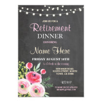Retirement Dinner Party Women's Floral Pink Invite