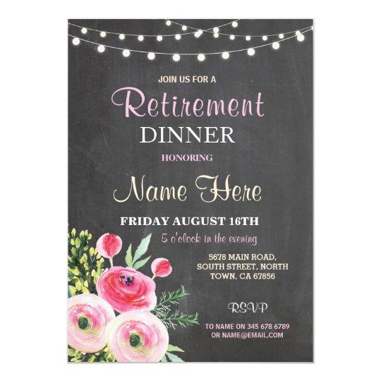 Retirement Dinner Party Women S Floral Pink Invite Zazzle Com