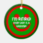 retirement Double-Sided ceramic round christmas ornament