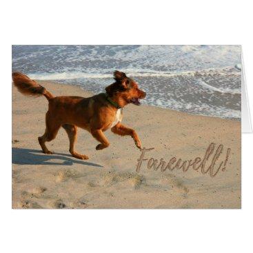 Beach Themed Retirement Farewell Running Dog on the Beach Card