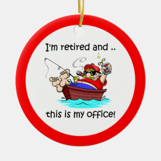 Retirement fishing ceramic ornament