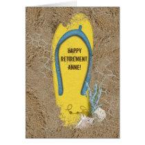 Retirement flip-flop in sand card
