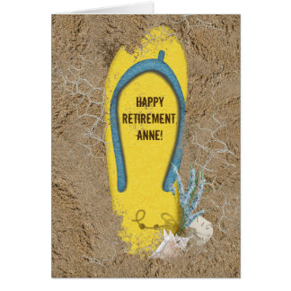 Retirement flip-flop in sand card