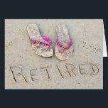 "retirement flip-flops on beach card<br><div class=""desc"">Pair of flip-flops on beach sand for retirement.</div>"