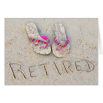 retirement flip-flops on beach card