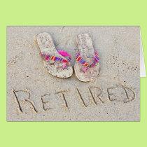 retirement flip-flops on beach card