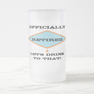 """""""Retirement"""" Frosted Glass Beer Mug"""