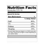 Retirement Funny Nutrition label Postcard