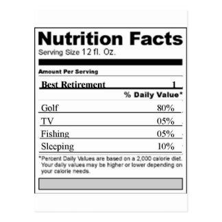 Retirement Funny Nutrition label Postcards