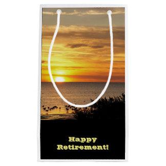 Retirement, Gift bag, sea gulls in Gulf sunset. Small Gift Bag